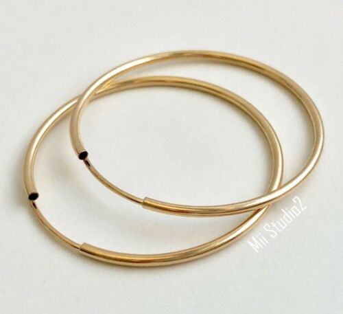 6pcs 24mm  14k gold filled round endless hoop loop earring wire ear wire E22g