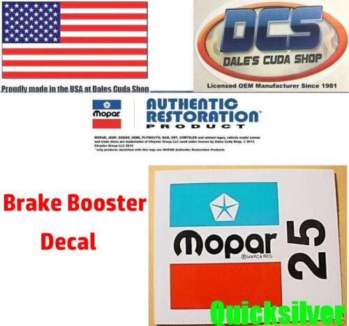1973 74 Cuda road runner GTX Power Brake Booster I.D DECAL 25 New MoPar USA
