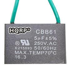 HQRP Capacitor para Hampton Bay de Ventilador de Techo 5uf, 2-Alambres / CBB61