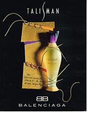 PUBLICITE ADVERTISING 074  1994  BALENCIAGA  parfum  TALISMAN