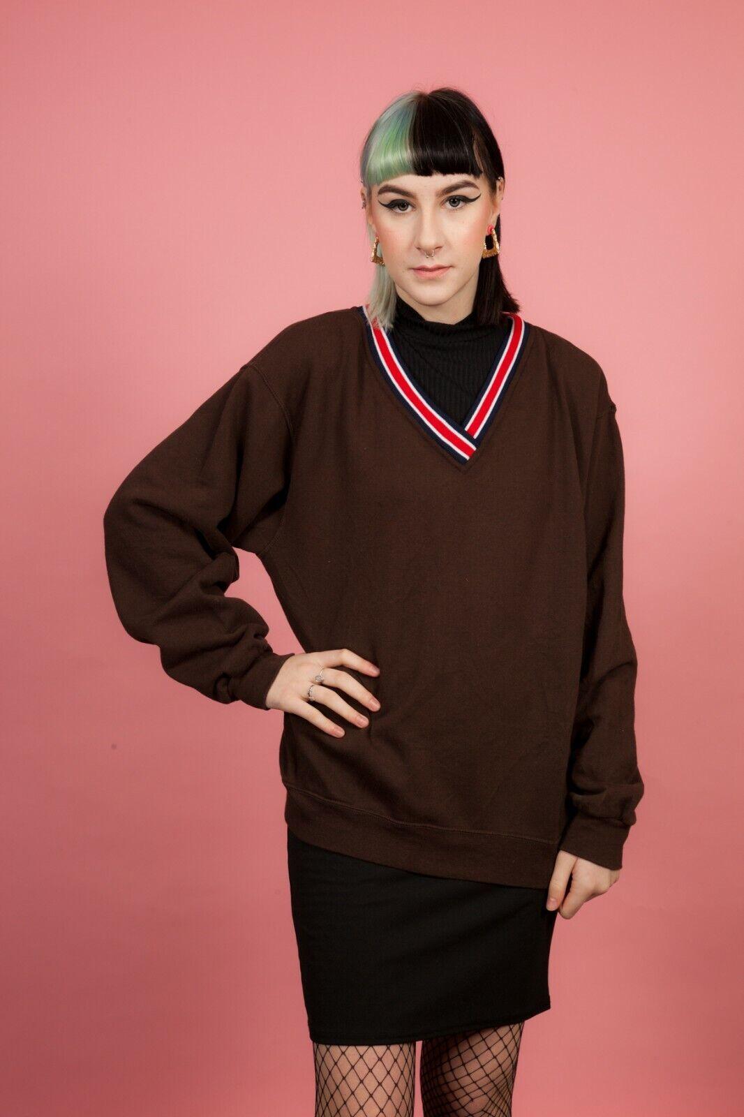Reworked vintage brown V neck sweatshirt jersey jumper M - Unisex