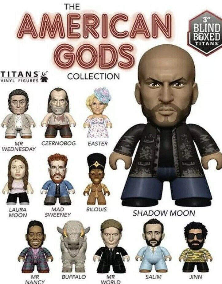 """18 X American Gods - TITANS 3"""" Vinyl Figures - Display Case Of 18 NEW AND SEALED"""