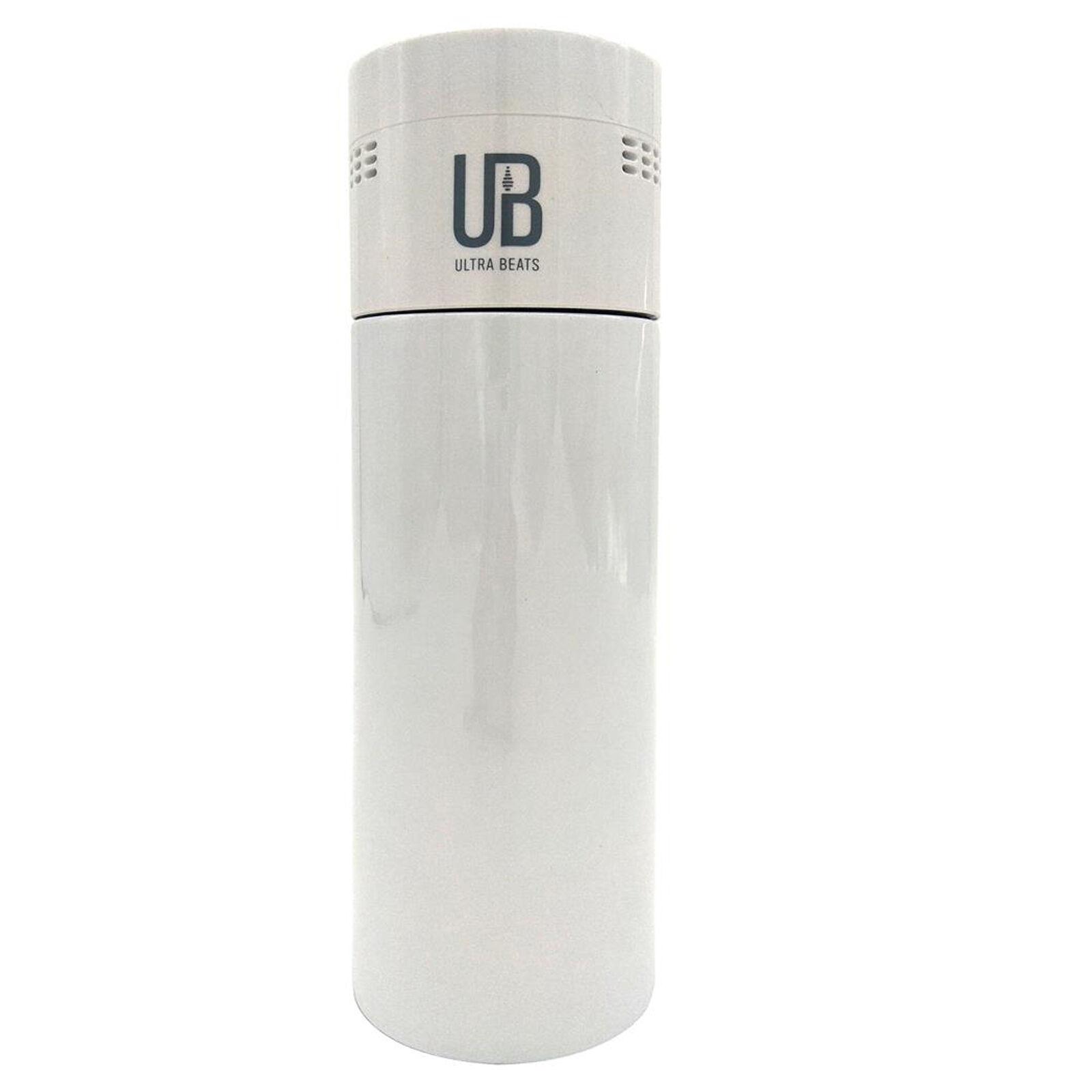 Ultra Beats 2in1 Stainless Steel Coffee Tumbler, Wireless Speaker, Alarm, bianca