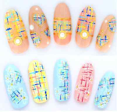 Blue Pink Checked Pattern Water Transfers Nail Art Stickers Decals UV Decoration