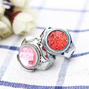 Fashion-Women-Jewelry-Round-Finger-Ring-Watch-Stone-Steel-Elastic-Lady-Girl-Gift