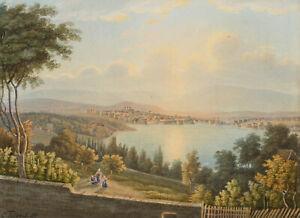 Carl Triebel (1823 - 1885) - Lago di Ginevra-Guazzo-FIRMATO - 1857 (Romanticismo)
