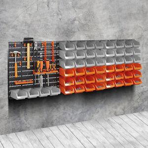 65pc Wall Mounted Storage Bin Board Set For Garage Diy Tools Rack