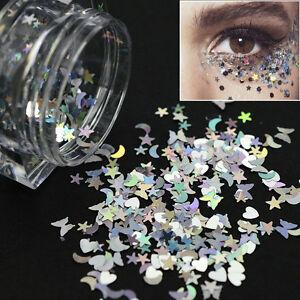 PAILLETTES-argento-multiforme-per-NAIL-body-ART-GLITTER-SEQUINS-unghie-manicure