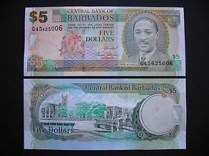 Active Barbados 5 Dollars 2007 Unc p67a