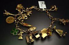 14K Yellow Gold Charm Bracelet Eiffel Shamrock Matador Windmill Gondola Piano