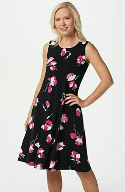 Susan Graver Size S Black Floral Liquid Knit Sleeveless Knee Dress w/Pockets New