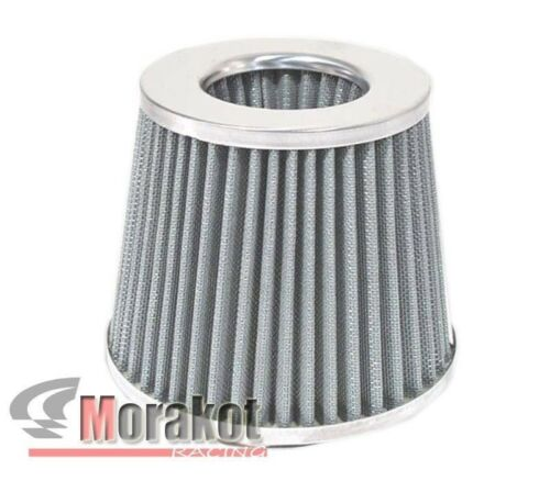 "UNIVERSAL 4/""INCH HIGH FLOW COLD AIR SHORT RAM INTAKE DRY FILTER CHROME SILVER"