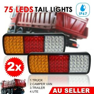 2X-Submersible-Waterproof-75-LED-Stop-Tail-Lights-UTE-Boat-Truck-Trailer-Lamp-AU