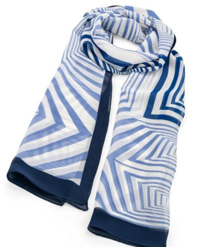 Scarf white Navy blue border patterned geometric optic stripe Wrap-shawl-gift