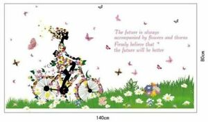 Blumen-Schmetterling-Fahrrad-Frau-Natur-Kinder-Wandsticker-Wandtattoo-Aufkleber