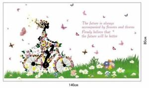 Flores-mariposa-bicicleta-mujer-naturaleza-ninos-pared-Sticker-murales-pegatinas