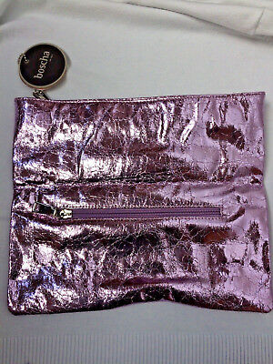 NEU Boscha Clutch Tasche Handtasche mauve lila metal Etikett Party