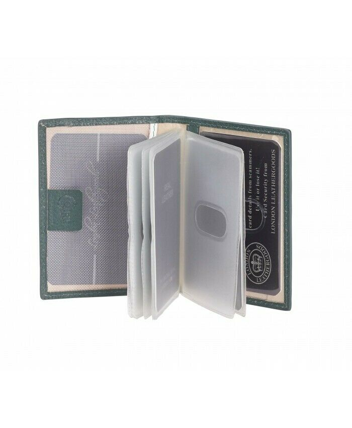 LONDON LEATHERGOODS CONTRAST COLOURED CREDIT CARD CASE WITH INNER ID WINDOW