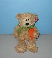 Ty Babies Classic 12 Carroty Floppy Bean Plush Curly Tan Bear Holding Carrot