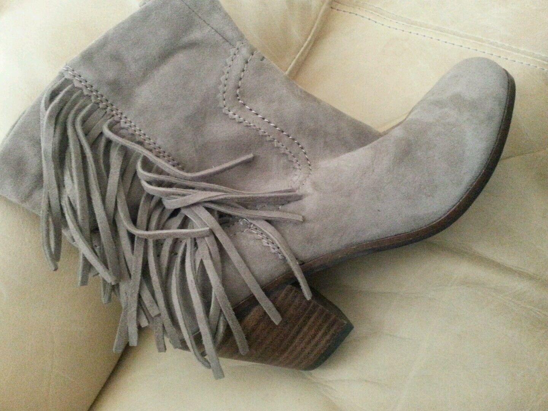 Sam Edelman Louie Tan Suede Fringe Womens Boots 7M BRAND NEW
