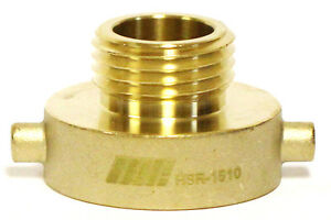 """NNI FIRE HYDRANT BRASS ADAPTER 1-1/2"""" Female NST NH x 1"""" NST NH Male HSR-1510"""