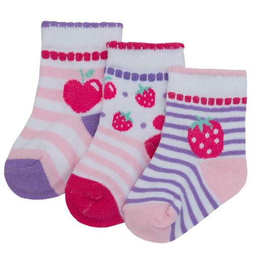 3 Paires Bébé Filles Fée /& Strawberry Chaussettes Pack de 3 chaussettes 0-0 0-2.5 3.5-5 B695