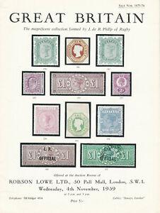 Great Britain Robson Lowe Ltd Stamp Auction Catalog Sale 1875 76 Nov 4 1959 Ebay
