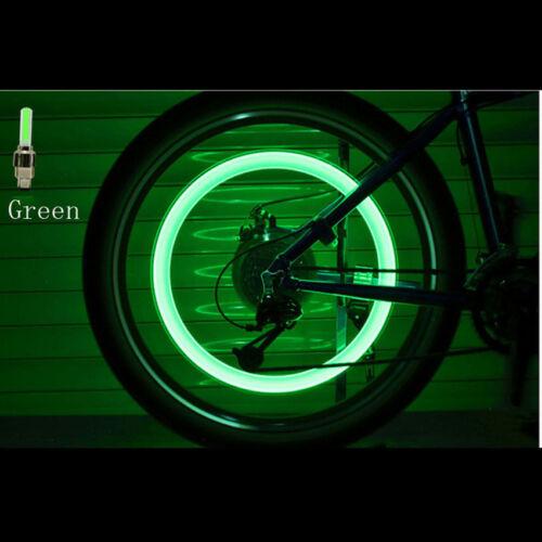 Single LED Valve Cap Bicycle Bike Wheel Tire Tyre Light Spoke Lamp Motorcycle X2