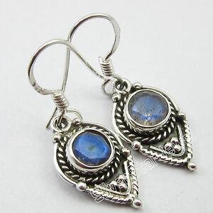 Art-Retro-925-Pure-Silver-BLUE-FIRE-LABRADORITE-ANTIQUE-STYLE-Earrings-1-3-034