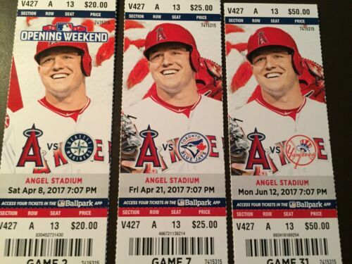 Los Angeles Angels 2017 Mike Trout ticket stubs One ticket
