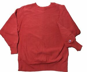 VTG-90s-Champion-REVERSE-WEAVE-Red-Crewneck-Sweatshirt-Men-s-Size-Large-USA-MADE