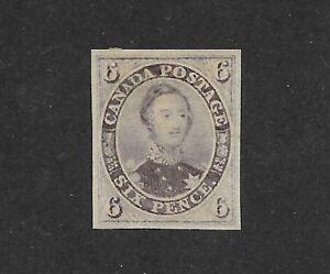 CANADA-1855-Sc-5a-6p-Prince-Albert-Brownish-Grey-XF-RARE-Unused-Hinged-Repaired