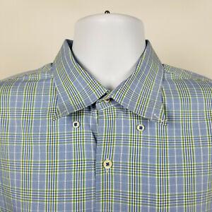 Peter-Millar-Mens-Green-Blue-Plaid-Check-Dress-Button-Shirt-Size-XL