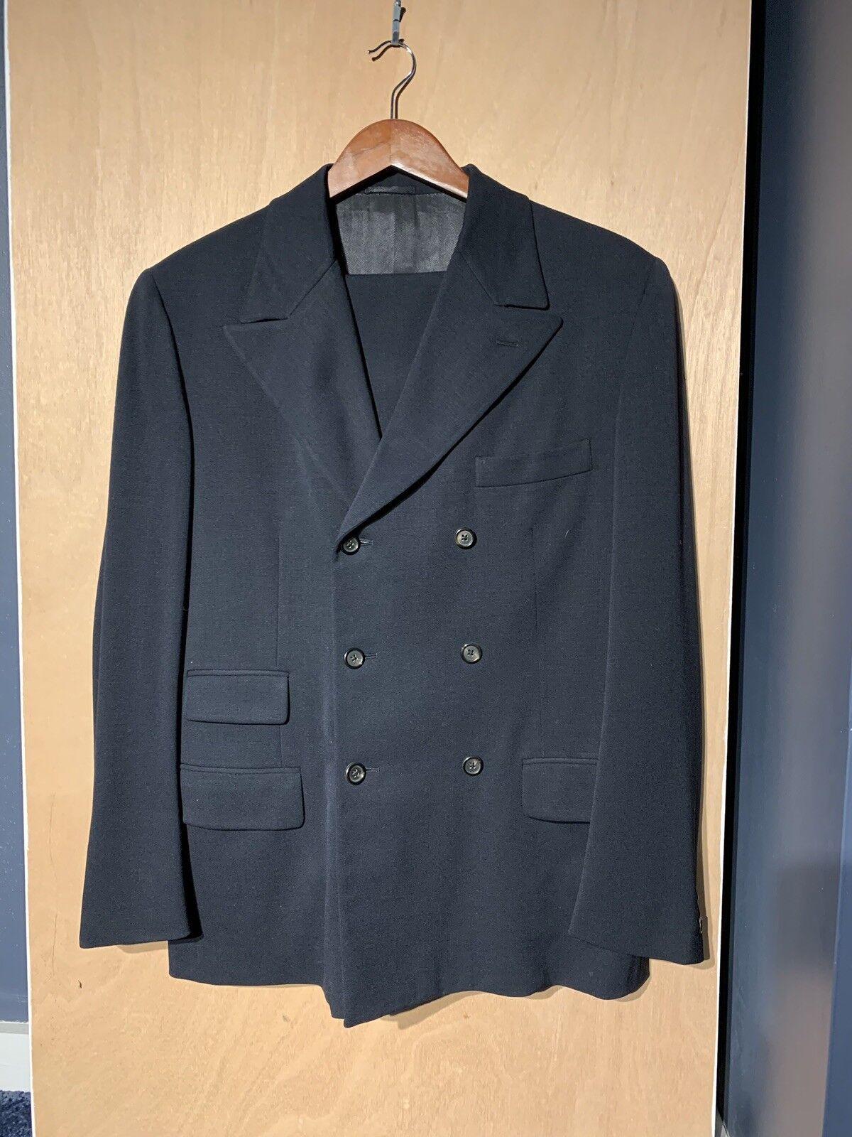 PRADA Navy bluee Double Breasted Peak Lapel Wool Suit Sz 50