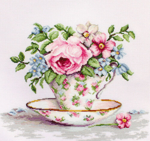 Counted Cross Stitch Kit Luca-S Flowers in a tea cup