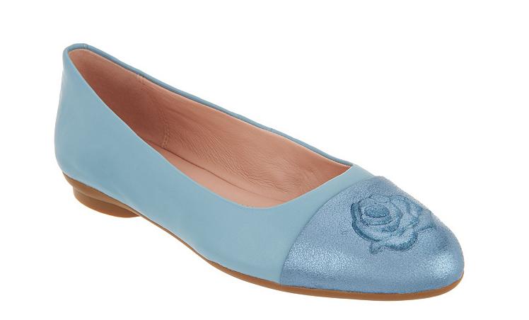 Taryn pink Leather Ballet Flats - Annabella Sky bluee Women's Size 6 New