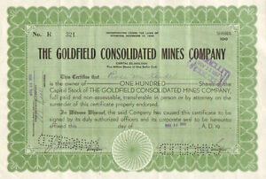 Goldfield Consolidated Mines > 1930s Wyoming  old stock certificate
