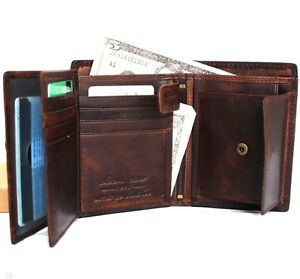Men-039-s-Natural-Leather-wallet-credit-cards-id-window-hand-made-Davis-coins-zipper