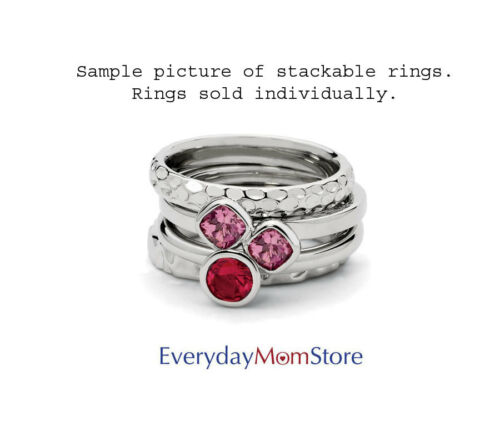 Sterling Silver Stackable Ring 1 Large Oval shaped Pink Tourmaline stone QSK443