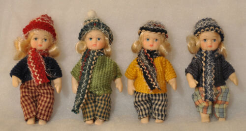 Set of Four Thai Porcelain Dolls in Winter Clothes New Christmas Ornaments