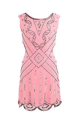 BNWT Gatsby PINK Dress Tunic Top Evening 1920's Shift Dress Size 8 to 18
