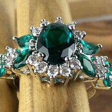 925 Sterling Silver 3ctw Genuine Green Tourmaline & White Sapphire size 6 or7