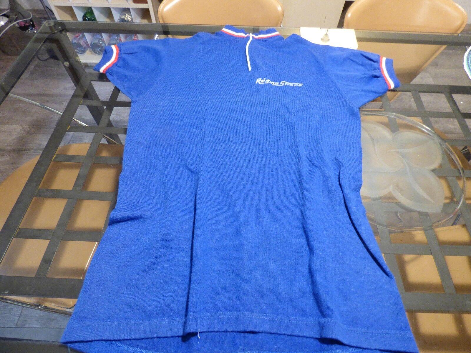 Maillot de vélo vintage Regina Sport  blue roi liseré tricolor Oursport
