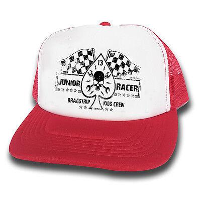 Dragstrip Clothing Kids Junior Racer Rosso E Bianco Racing Bandiere Camionista Cap-mostra Il Titolo Originale Facile Da Lubrificare