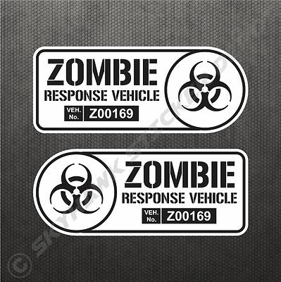 Zombie Response Vehicle Sticker Set Vinyl Decal Walking Dead Car Truck B&W Decal