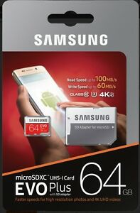 Samsung-EVO-Plus-64GB-Micro-SDXC-Card-mit-100-MB-s-SD-Adapter-UHS-I-U3-Mod-2017