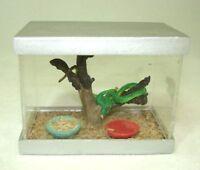 Dollhouse Miniature Terrarium Tank W Emerald Tree Snake 1:12 Scale Miniatures