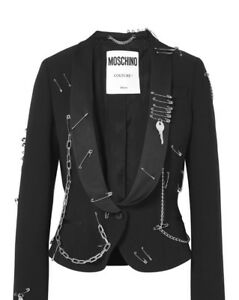 Pin And nero Chains Safety in Couture crepe Moschino Blazer SBRPaE