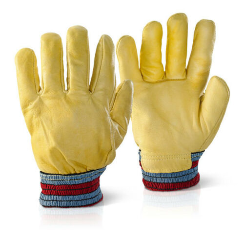 Full Fleece Lined Winter Leather Driver Work Gloves with Close Cuff