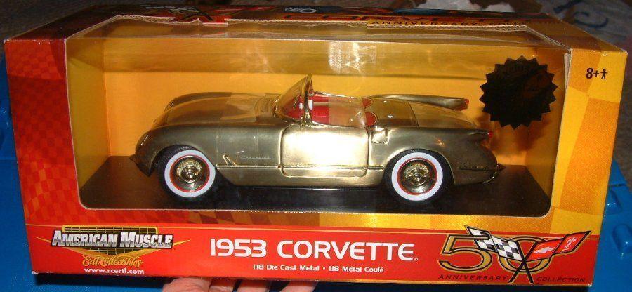 Ertl American Muscle 1953 Corvette Die Cast Metal Cepillado oro Coche Escala 1 18